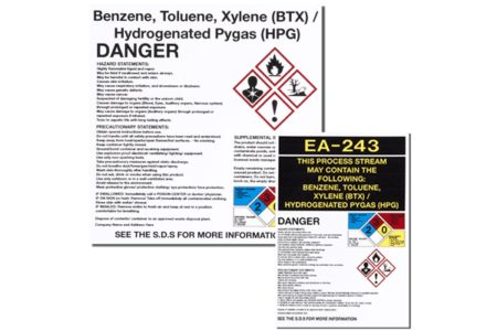 Marking Services Canada GHS labels identify health, physical and environmental risk hazards