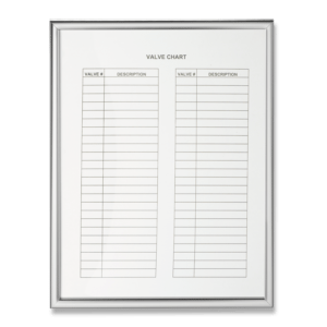 Marking Services offers an aluminum valve chart frame