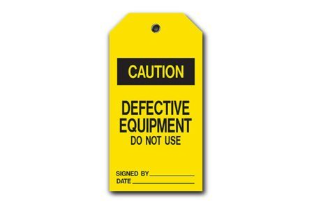 MSC self-laminating accident prevention tags in yellow.
