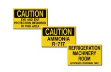 Ammonia Identification Auxiliary Door Signs MSC